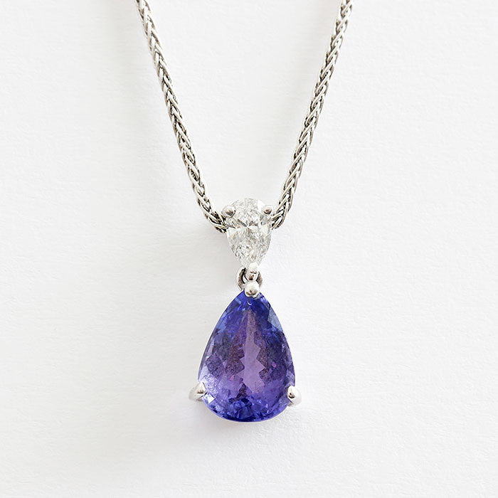 Tanzanite and diamond necklace at marston barrett lewes marston 18ct gold tanzanite and diamond pendant necklace mozeypictures Choice Image