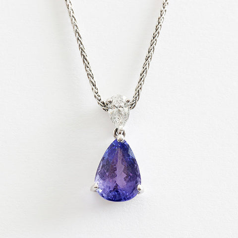 18ct gold tanzanite and diamond pendant necklace