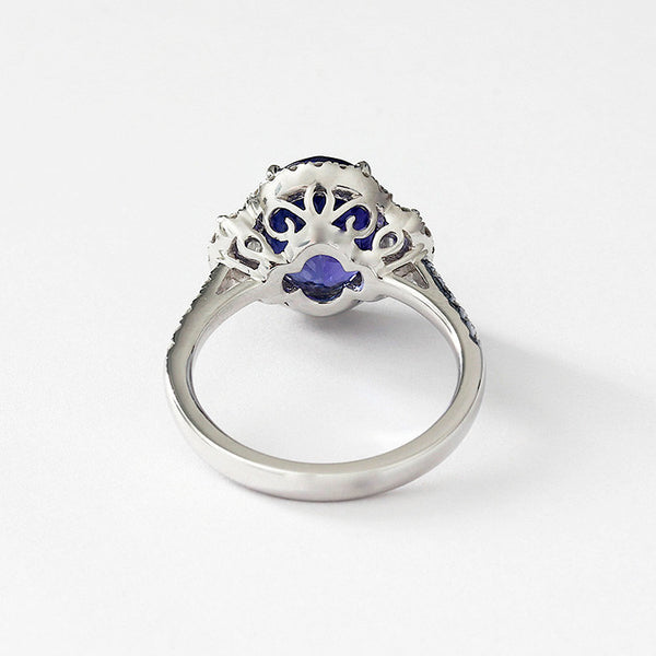 a tanzanite and diamond cluster ring in 18ct white gold large size cluster