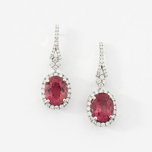 tourmaline pink oval and diamond cluster drop earrings