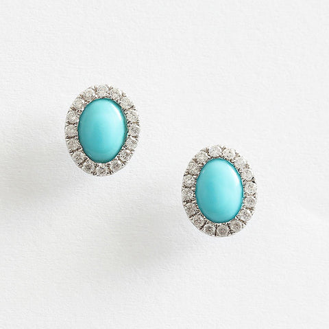 turquoise and diamond oval cluster earrings from marston barrett lewes