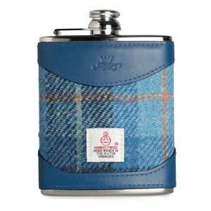 a blue leather and tweed design stainless steel hip flask