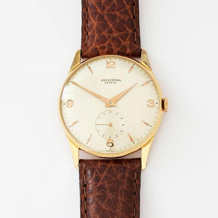 a universal 18ct rose gold vintage gents watch with a brown leather strap