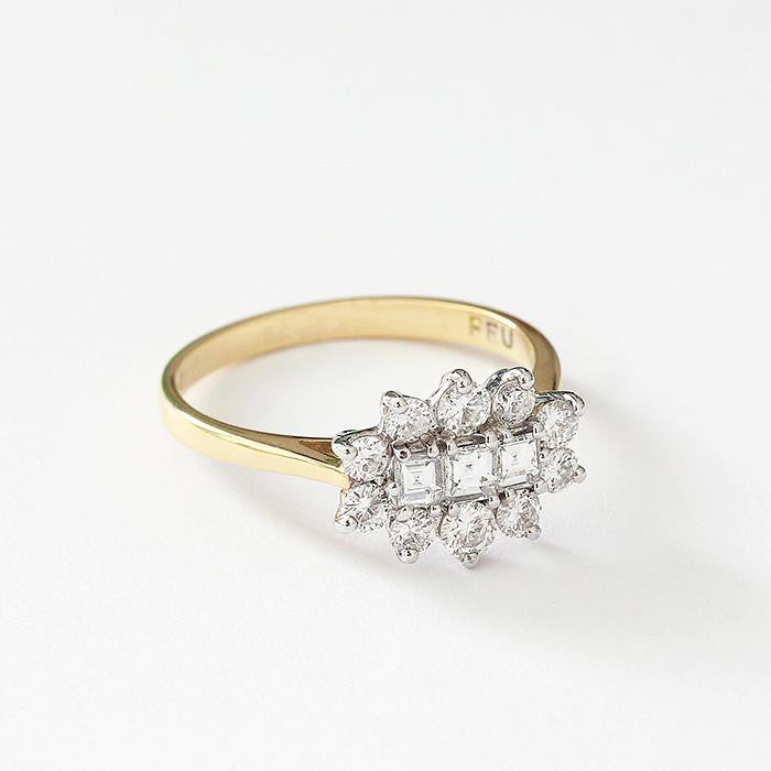 a preowned diamond cluster ring in yellow and white gold