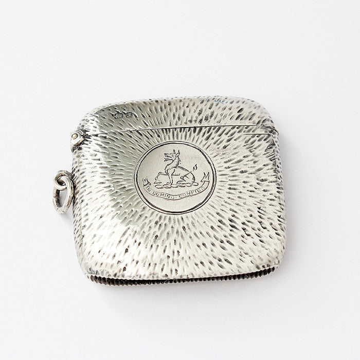 secondhand sterling silver vesta case square shaped with rounded edges and motif on the front 1906