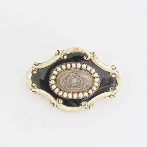 victorian mourning brooch with pearls and enamel