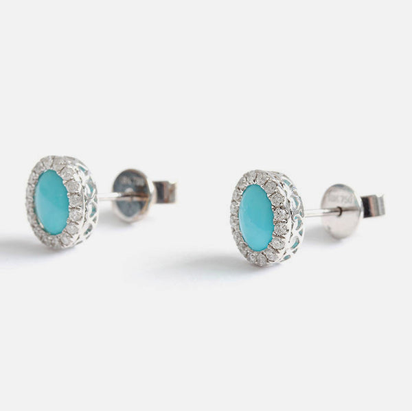 turquoise and diamond cluster earrings in 18ct white gold