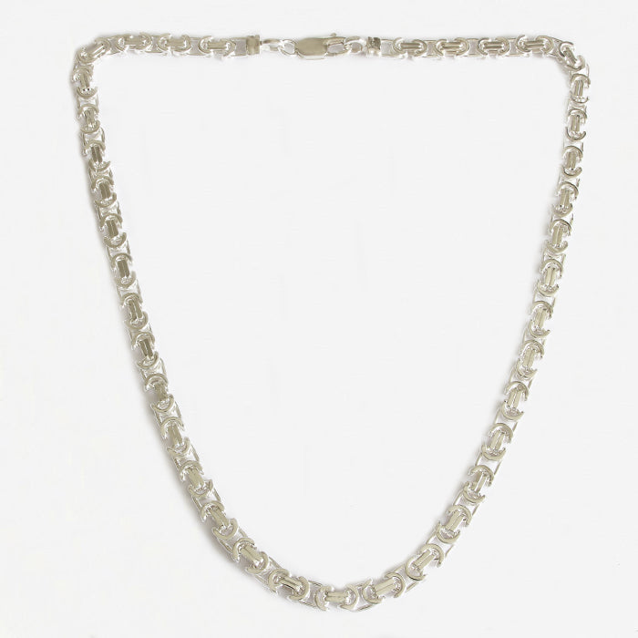 a modern handmade silver necklace with trigger clasp