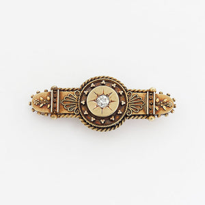 diamond set victorian gold brooch