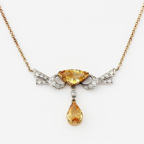 beautiful yellow sapphire and diamond striking pendant with yellow necklace