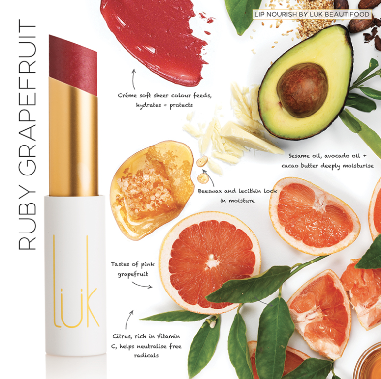 Lip Nourish Ruby Grapefruit Natural Lipstick *NEW* 天然亮澤滋潤唇彩 - 紅寶葡萄柚
