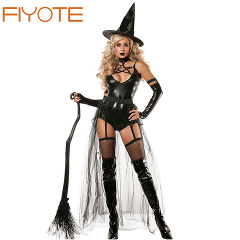 FIYOTE Hot Adult 4pcs Miss Witchcraft Costume