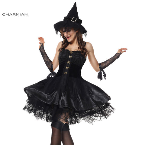 Charmian Gothic Sorceress Witch Velvet Corset Dress Halloween Cosplay