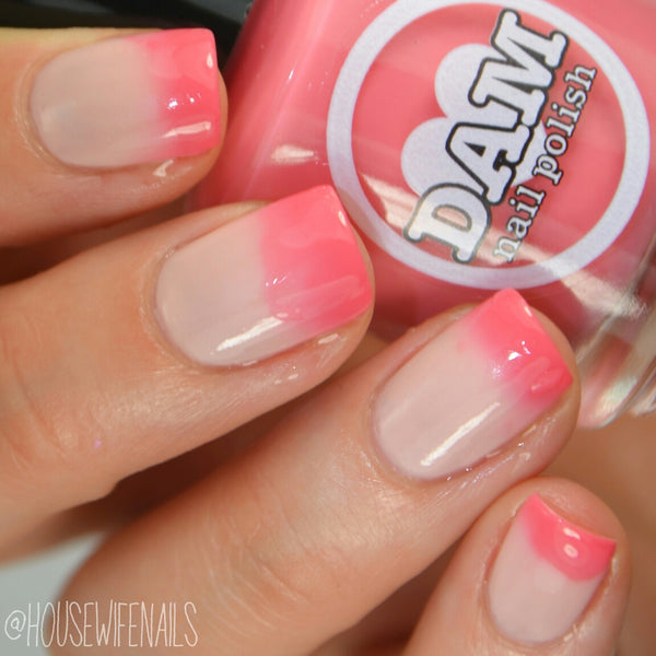 Blushing Nudie - Red Thermal Nail Polish - Pink Thermal Nail Polish - Nude Nail Polish - Dam Nail Polish