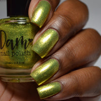 Citron - Yellow Metallic Nail Polish - Precious Metals Collection - Metallic Flake - Dam Nail Polish