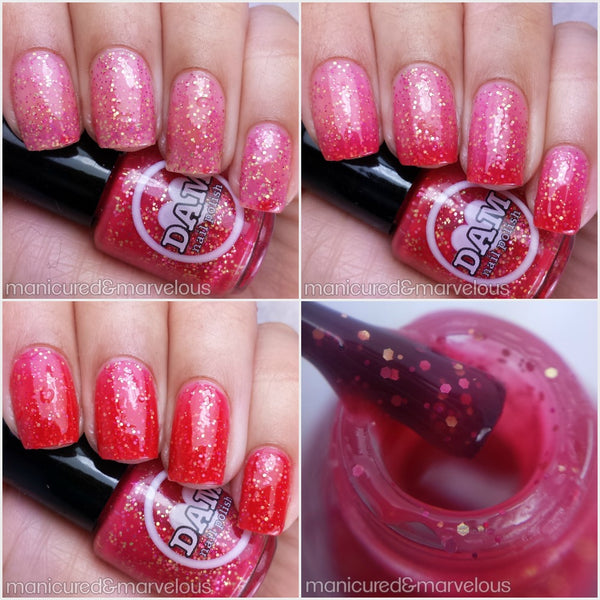 Hearts and Kisses - Red Thermal Nail Polish - Pink Thermal Nail Polish - Glitter Nail Polish - Thermals - Dam Nail Polish