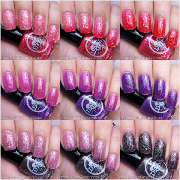 Valentine's Day Trio - Thermal Nail Polish Set - Glitter Nail Polish Set - Thermals - Dam Nail Polish