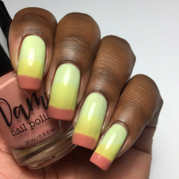 Sour Appletini - Red - Yellow - Light Green Thermal - Cocktail Party - Dam Nail Polish
