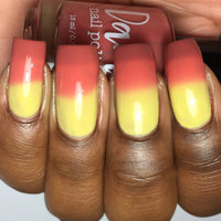 Tequila Sunrise - Red - Yellow Thermal - Cocktail Party - Dam Nail Polish