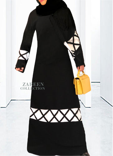 zareen collection, designer abayas, islamic clothing, muslim clothing, islamic fashion, hijab, abaya, us, uk, fashion, buy hijabs online, buy abayas online, islamic clothing online, online boutique, abaya boutique, farah crisscross abaya, black and white abaya, modern abaya, traditional abaya, sophisticated abaya, criss cross design
