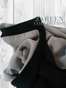 shop muslim clothing, abayas, hijabs, shrugs, jackets, scarves, muslim clothing online, close up of gray black reversible chiffon hijab scarf shayla by zareen collection,  shukr, annah hariri, modanisa, sefamerve, urbanmodesty, abaya abaya for sale abaya fashion abaya addict abaya buth abayas online abaya dress abaya online usa abaya store abaya websites