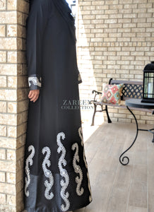 zareen collection luxury designer abayas shop najwa abaya online shop hijab online buy hijab online muslim women clothing islamic clothing muslimah clothing islamic dress muslim dress abaya annah harriri modanisa sefamerve shukr islamic clothing abaya buth abaya addict al motahajibat hijabi fashion muslim fashion islamic fashion abaya blogger abaya styles muslim styles hijab styles artisan clothing muslim artisan tailorship najwa embroidered abaya black crepe fabric modest clothing modesty is elegance