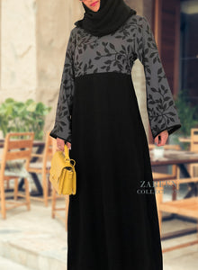 zareen collection abayas, buy, shop islamic clothing, muslim clothing, hijab, abaya, scarves, shrugs, modest fashion, nada abaya, nada fabric, quality islamic clothing, buy hijab, Zareen Collection Rayah Abaya Dress - black leaf design on textured gray fabric with black japanese crepe, black piping on sleeves, shop online hijab, buy islamic clothing, muslim fashion, islamic fashion, muslim clothing, buy abaya online, designer abayas, buy abayas, abaya shop online