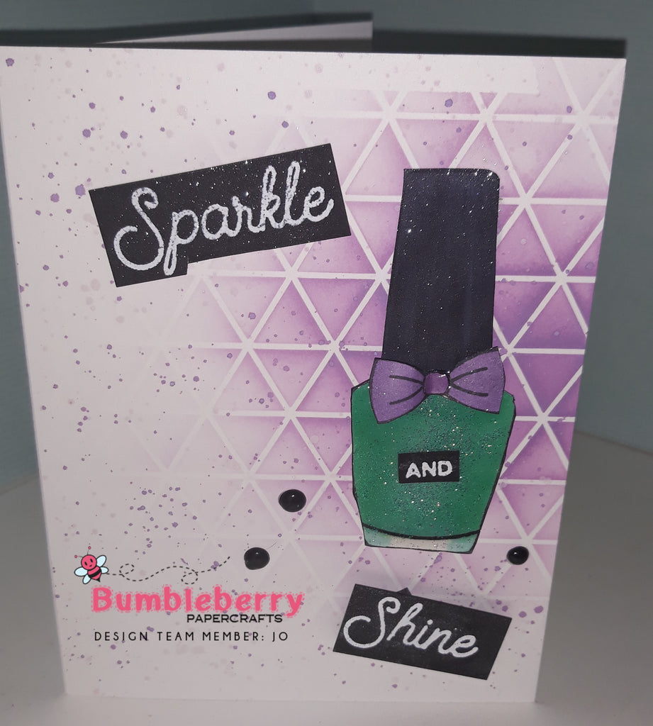 Sparkle and Shine with Honey Bee Shine on Stamps and Geometric Background Stencil.