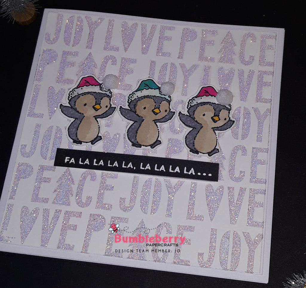 Peace,Love and Joy Three ways to use a stencil.... Christmas Card Number Four