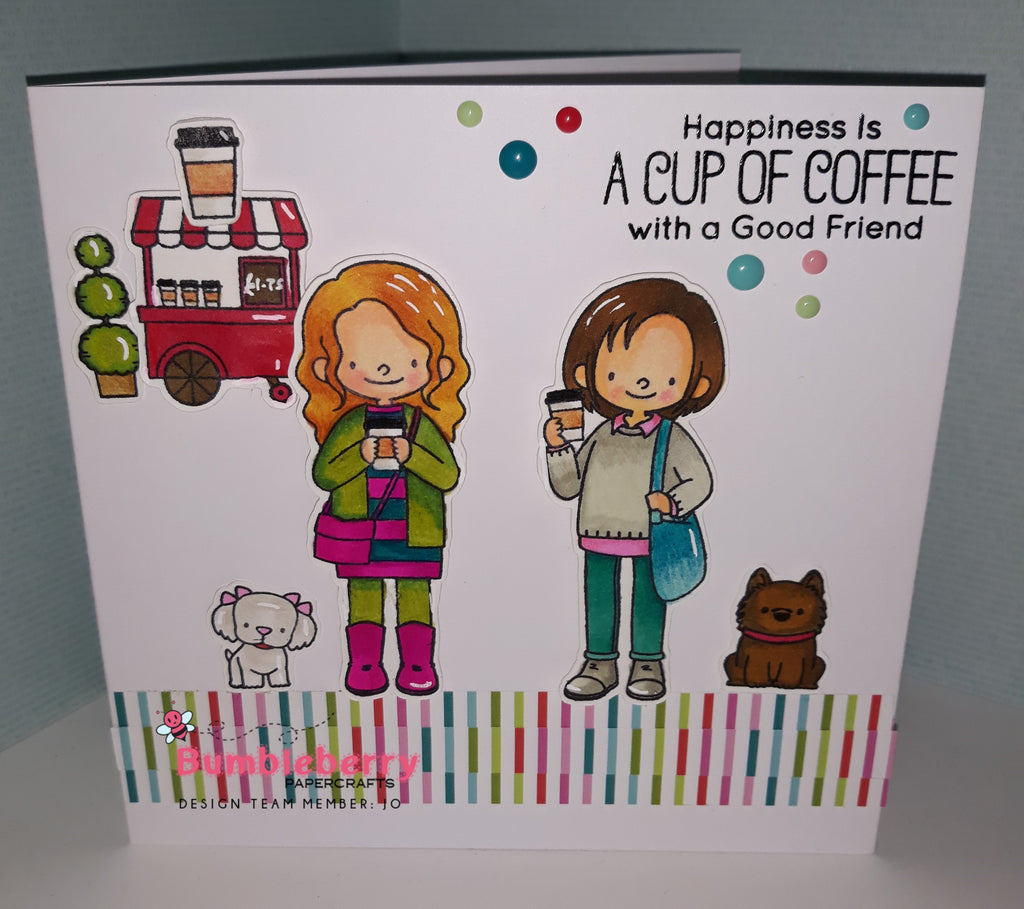 Friends At First Sip Stamps From MFT..... using alcohol markers to create a cute friends card.