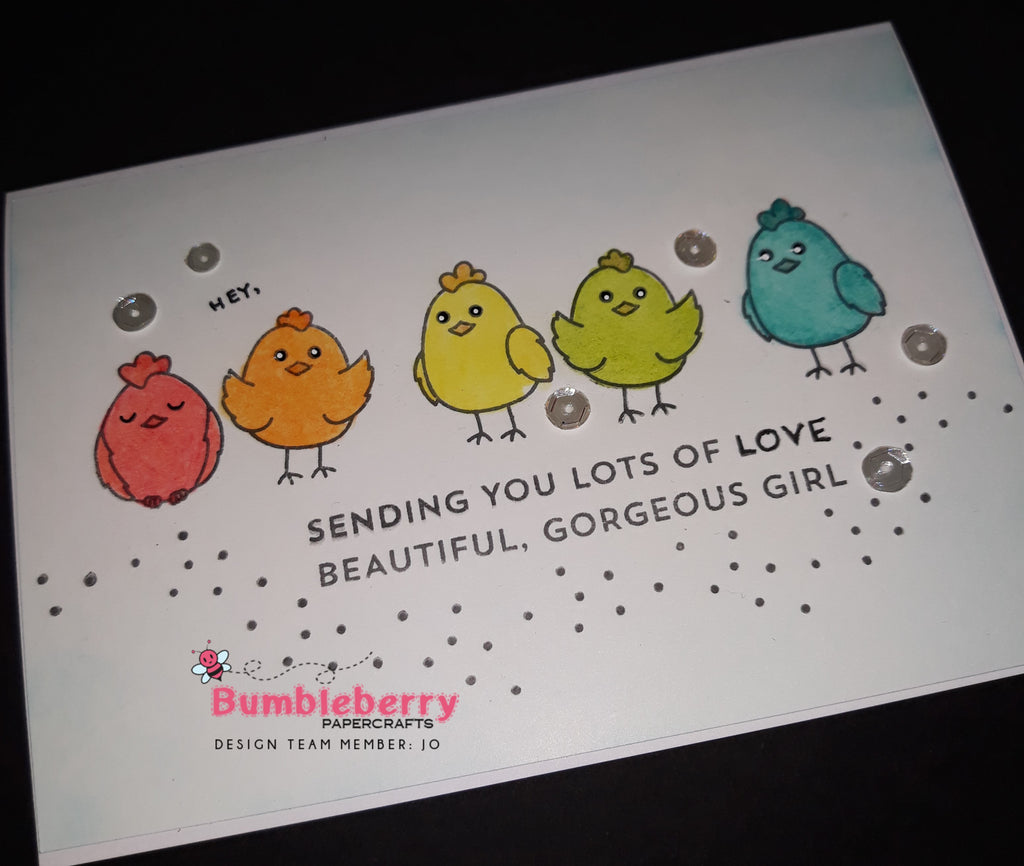 "Hey, Chick ""Sending You Lot's of Love, using Honey Bee's Spring Chicken Stamps"