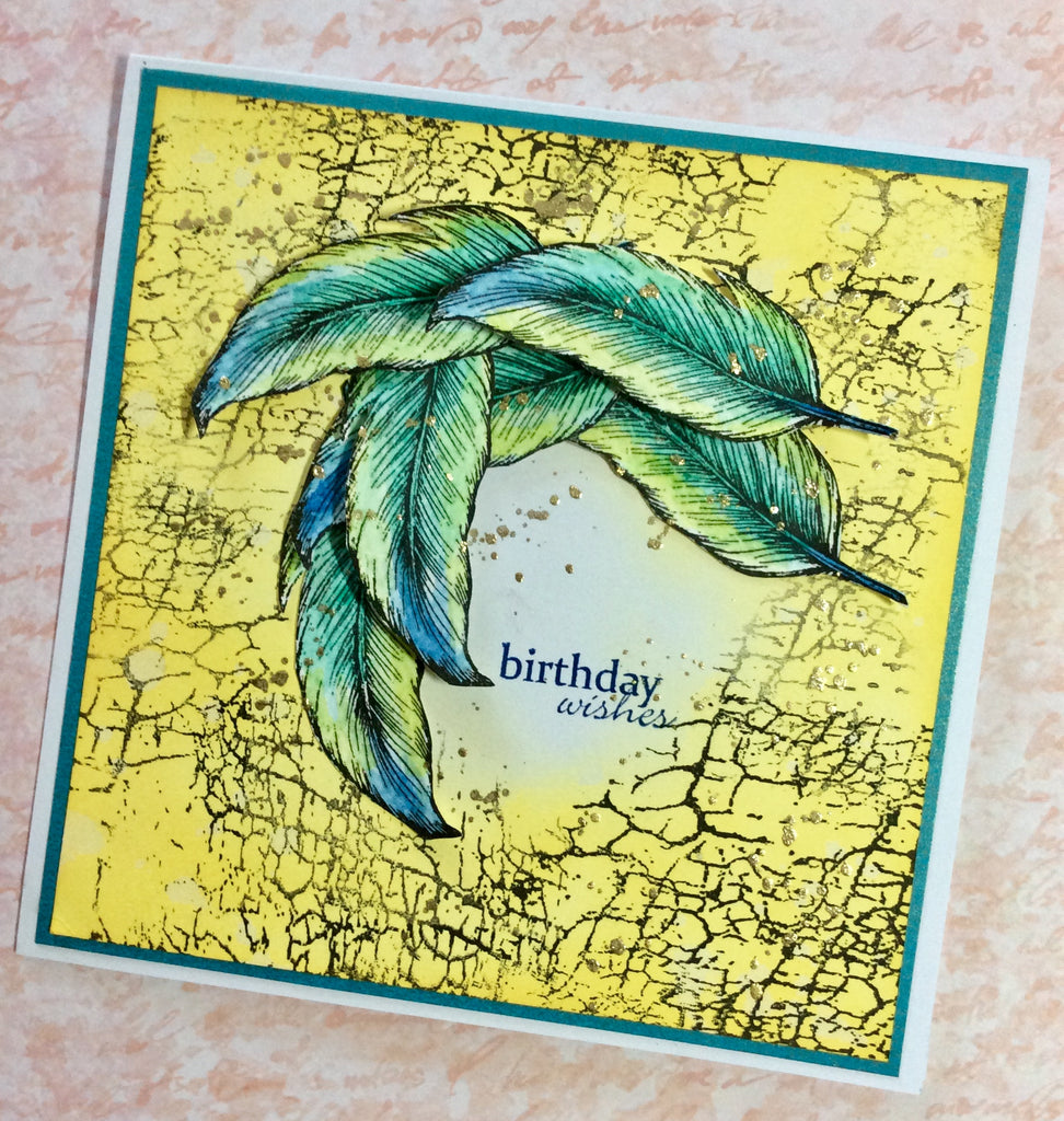 Feather card - stamp by Gina K