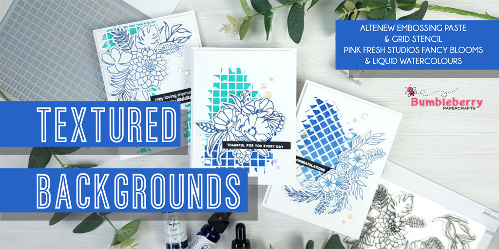 Textured backgrounds - Altenew embossing paste & Pink Fresh Studio Liquid Watercolours