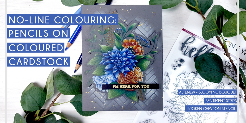 No-line Pencil colouring on dark colour cardstock - Altenew Blooming Bouquet