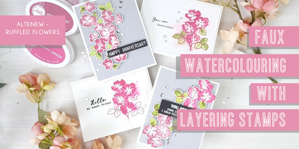 Faux watercolouring with layering stamps