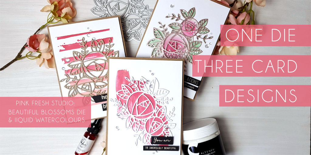 One die - three card designs (Pink Fresh Beautiful Blooms)