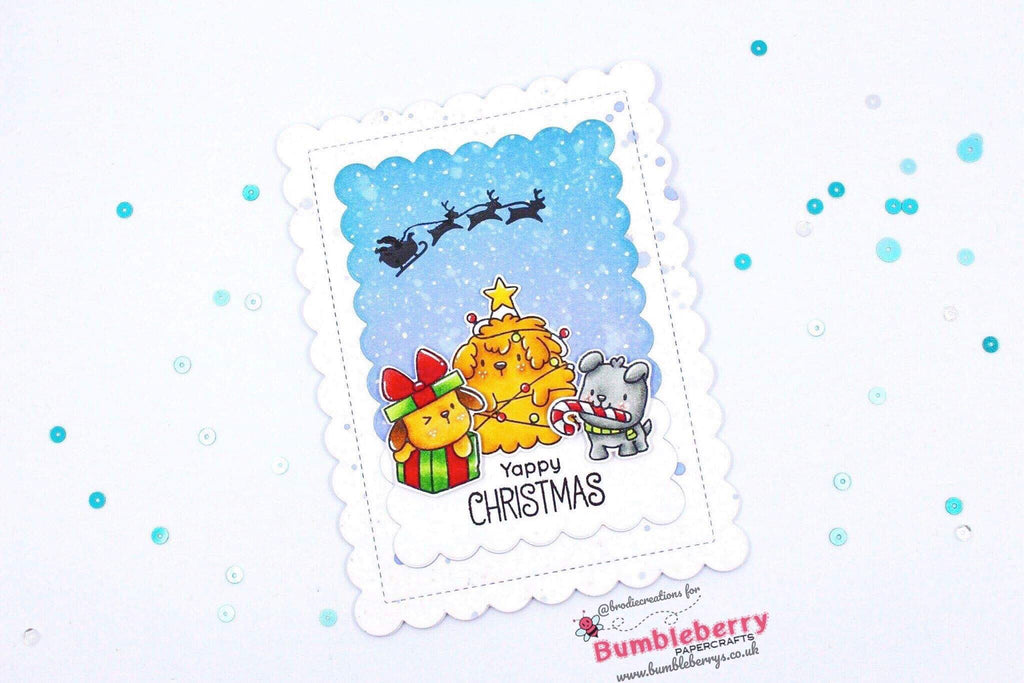 "Christmas Card Using Mama Elephant's ""Yappy Woofmas"" Stamp Set!"