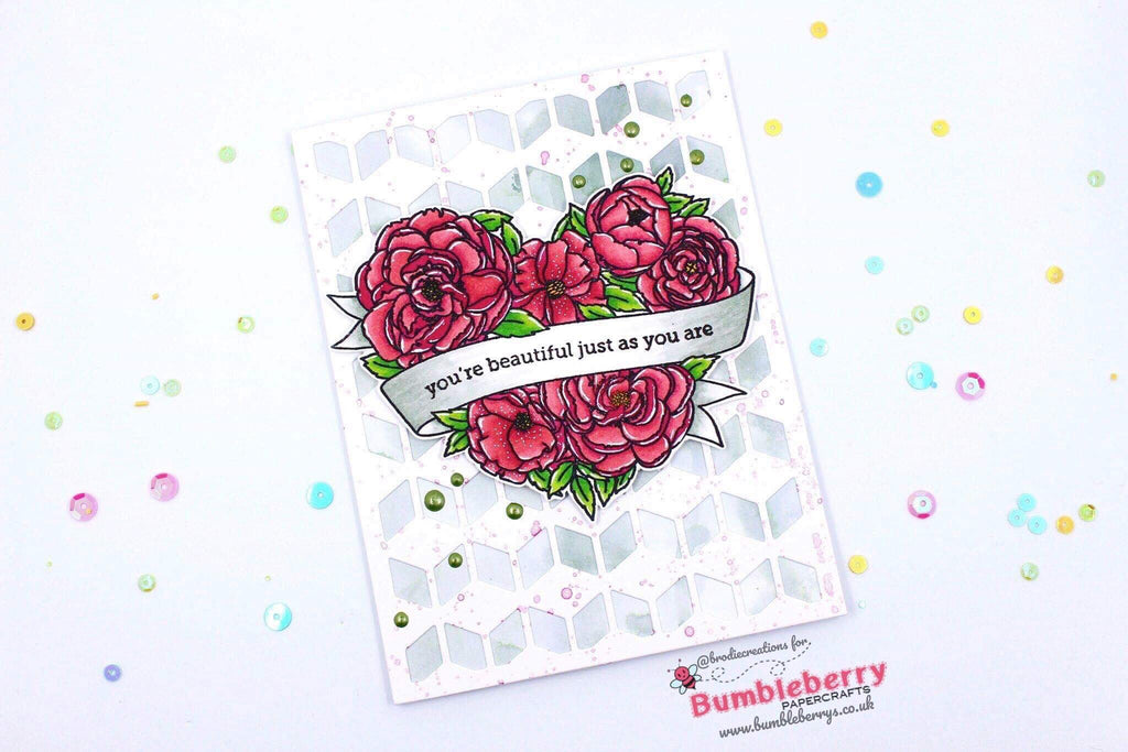 "Friendship Card Using Mama Elephant's ""Heart In Bloom"" Stamp Set! (With Matching Tags!)"