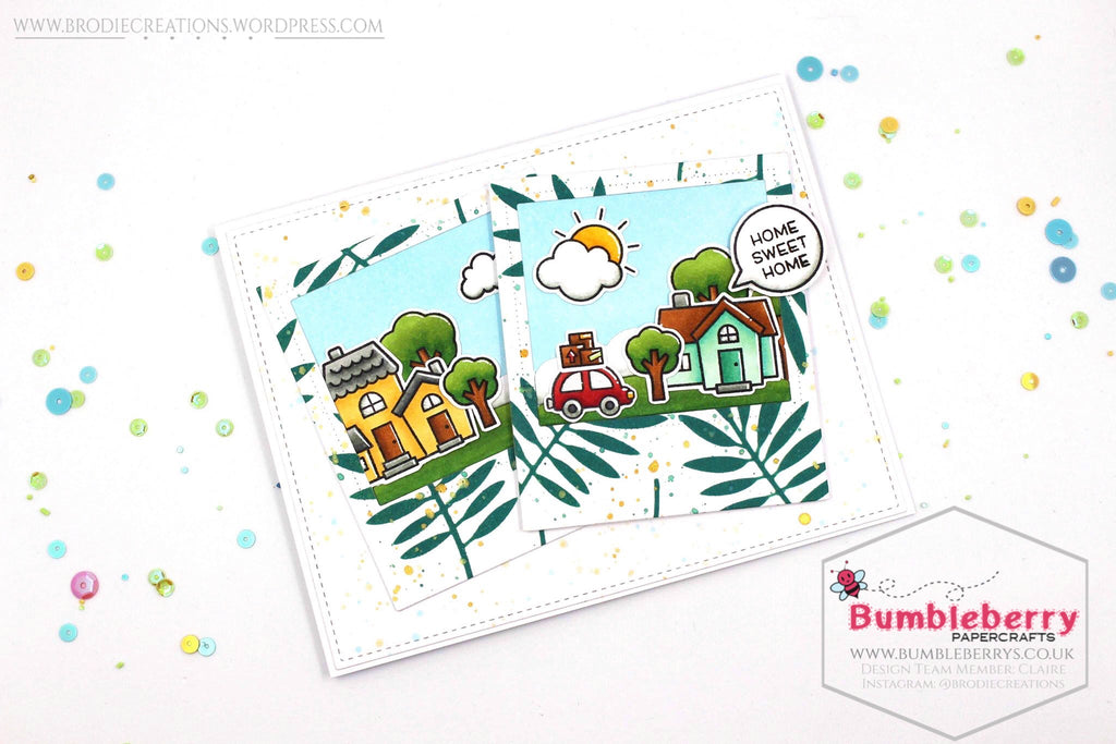 "Happy New Home Card Using Lawn Fawn's ""Happy Village"" Stamp Set!"