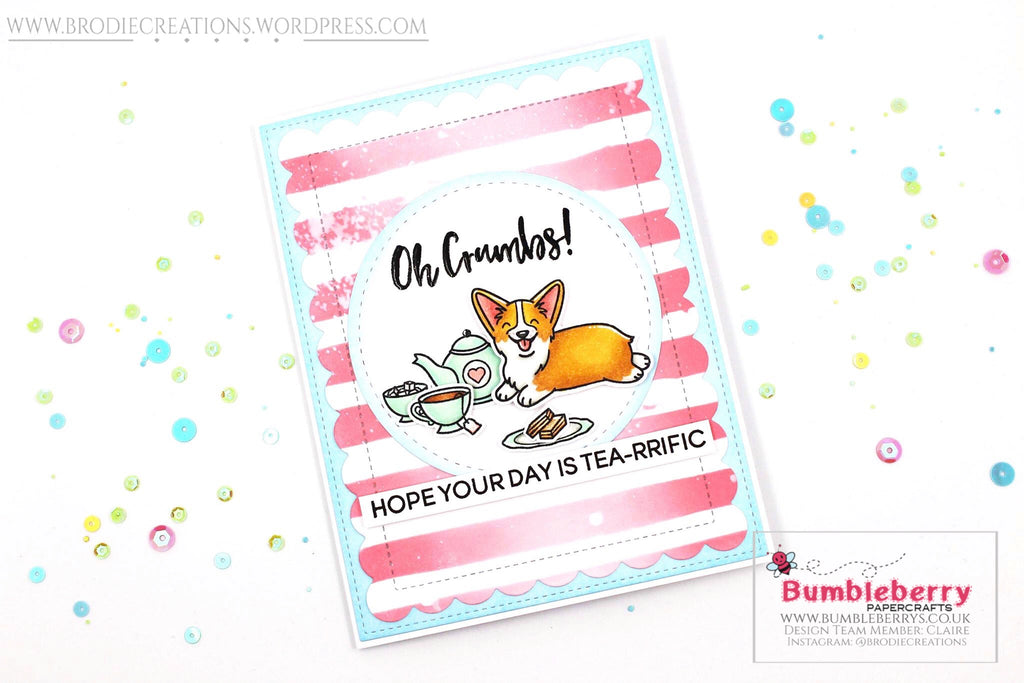 "Birthday Card Using Heffy Doodle's ""Oh Crumbs"" Stamp Set!"