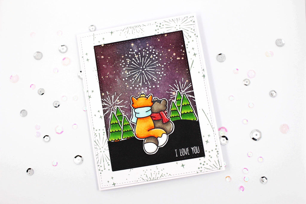 Cute Firework Scene Using Lawn Fawn and MFT Stamps!