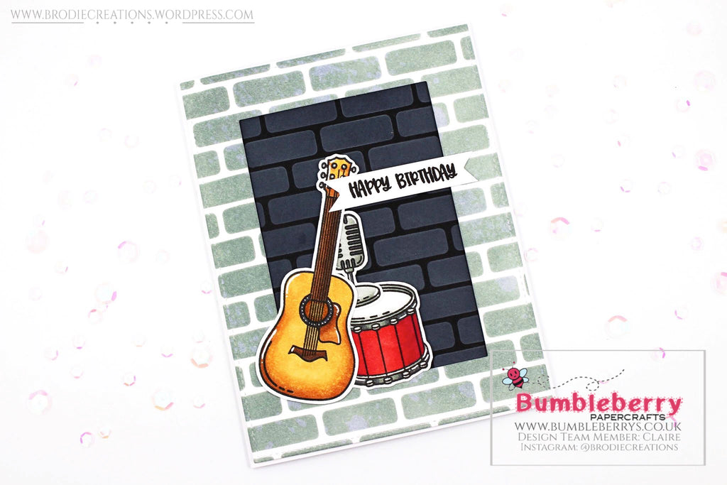 "Masculine Birthday Card Using Honey Bee Stamps' ""Music Speaks"" Stamp Set!"