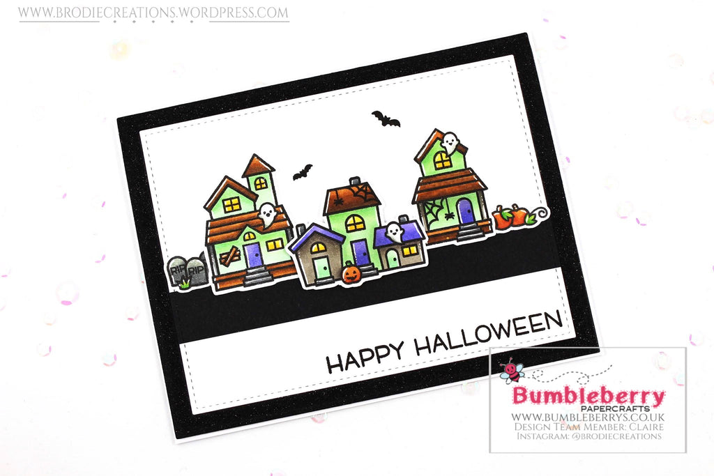 "Simple Halloween Card Using Lawn Fawn's ""Spooky Village"" Stamp Set!"