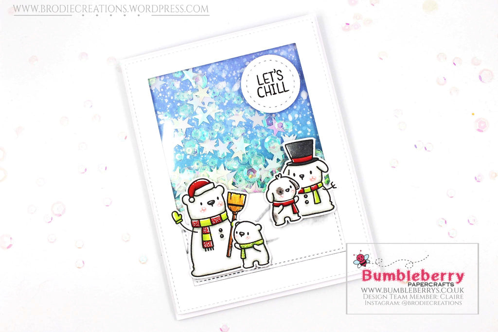"Holiday Shaker Card Using Mama Elephant's ""Snow Friends"" Stamp Set!"