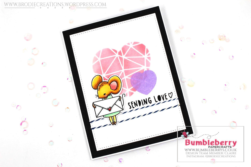 "Love Themed Card Using Waffle Flower's ""Sending Love"" Stamp Set!"