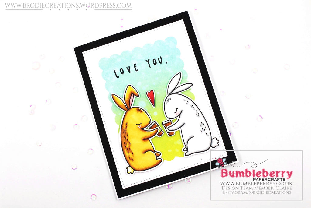 "Simple Love Themed Card Using Waffle Flower's ""Love You Bunnies"" Stamp Set!"