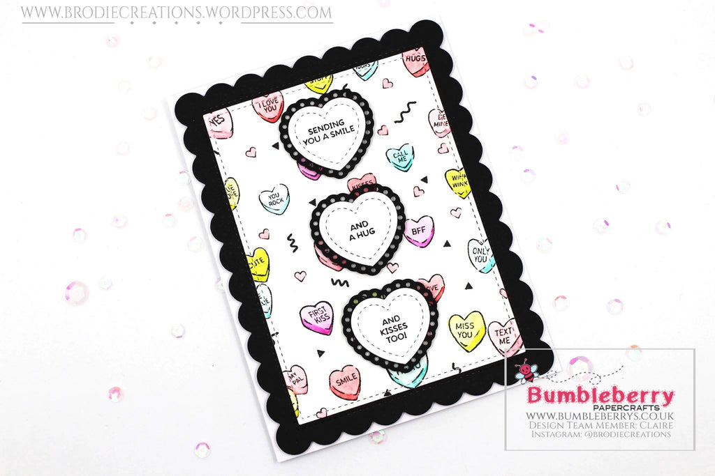 "Love Themed Card Using Hero Arts ""Candy Hearts Peek-A-Boo"" Cling Stamp!"