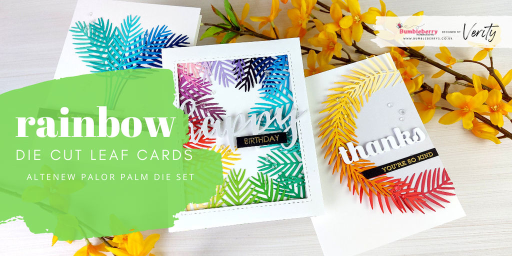 Rainbow die-cut leaf cards