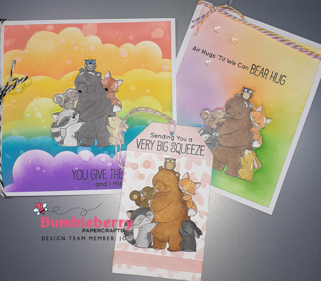 Air Hugs Till We Can Bear Hugs, (Birdie Brown) My Favorite Things Stamps Used On Three Separate Projects.
