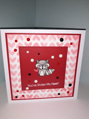 You've Stolen My Heart, using The Friendly Raccoons Stamp Set, from My favourite Things.....
